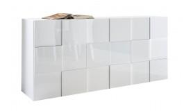 Bahut design 3 portes laqué blanc brillant - Faust