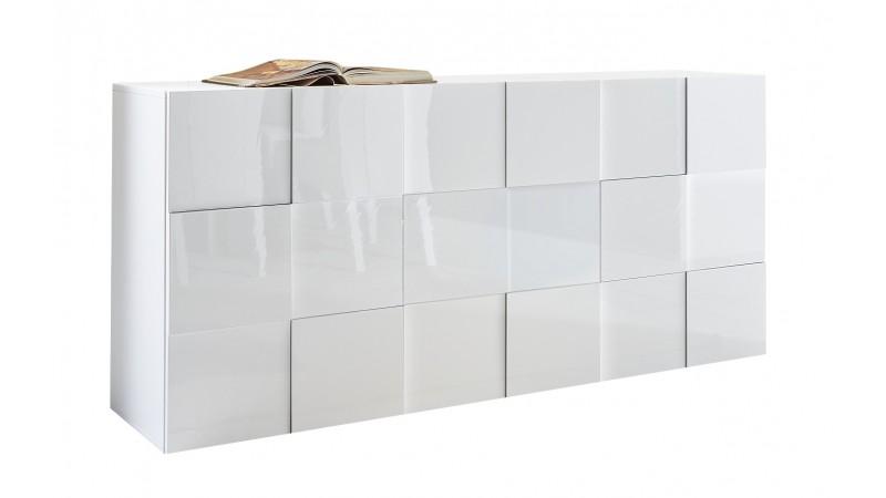buffet design de rangement 3 portes laqu blanc faust gdegdesign. Black Bedroom Furniture Sets. Home Design Ideas