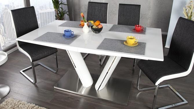 Table de salle à manger moderne extensible blanche Soweto - GdeGdesign