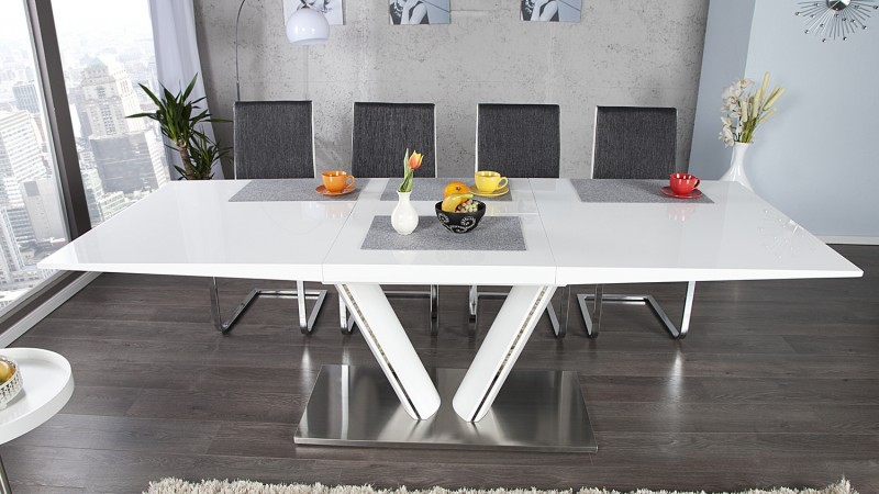 table de salle manger moderne extensible blanche soweto gdegdesign. Black Bedroom Furniture Sets. Home Design Ideas
