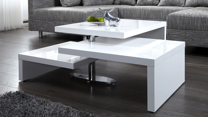 Table basse design blanche modulable en bois mdf durban Table basse laquee grise