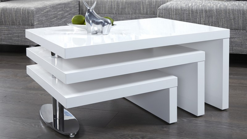 Table basse design blanche modulable en bois mdf durban for Table laquee blanche