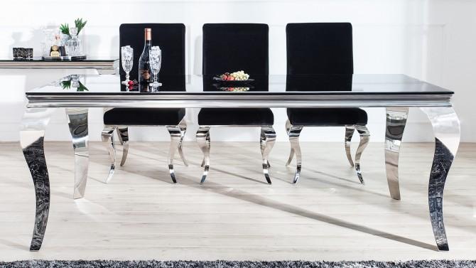 Table à manger baroque rectangulaire noire - Zita