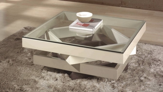 Table de salon moderne en verre et bois mdf hana gdegdesign - But table basse verre ...