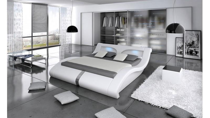 lit 140x200 cm similicuir blanc avec clairage led pierce gdegdesign. Black Bedroom Furniture Sets. Home Design Ideas