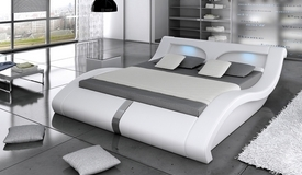 Lit LEDs moderne blanc 140x200 cm - Pierce