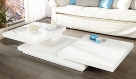 Table basse de salon modulable blanche - Anja