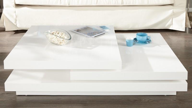 Table basse modulable de salon design laqu e blanche riga gdegdesign - Table de salon modulable ...