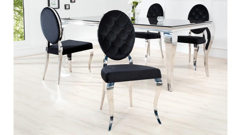 Chaise m daillon baroque et design en velours noir zita for Chaises medaillon soldes