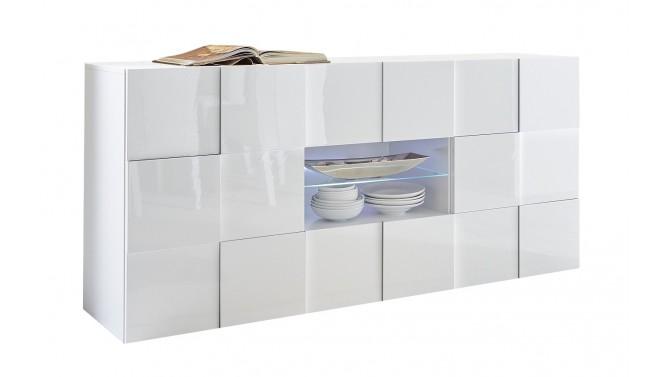 Bahut laqu blanc niche avec led 2 portes 2 tiroirs faust - Frigo 2 portes 2 tiroirs ...