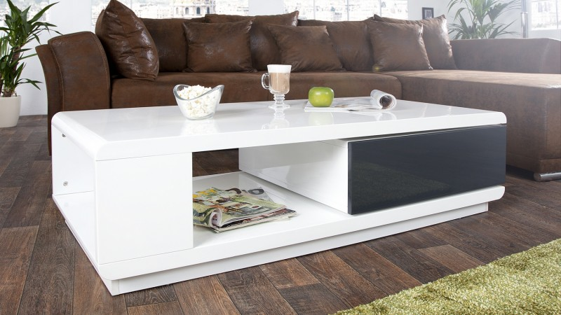 table basse moderne laqu e blanche tiroir pivotant maxan gdegdesign. Black Bedroom Furniture Sets. Home Design Ideas