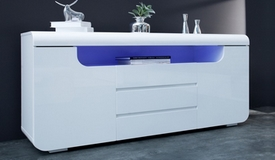 Buffet design lumineux laqué blanc - Nao