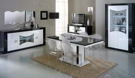 Salle à manger complète noire et blanche - Nevis