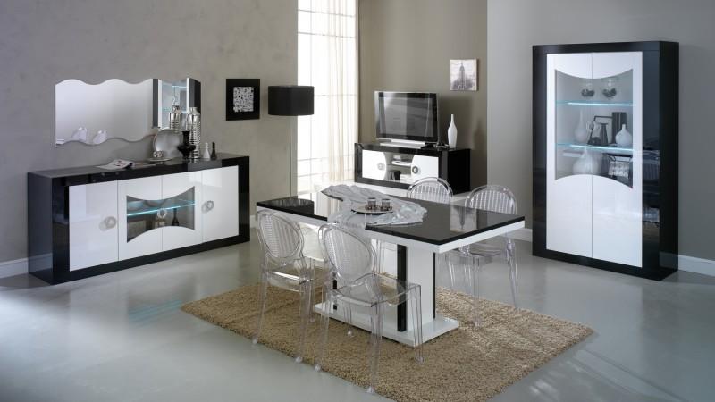 Salle manger design lumineuse noire et blanche nevis gdegdesign - Table salle a manger design conforama ...