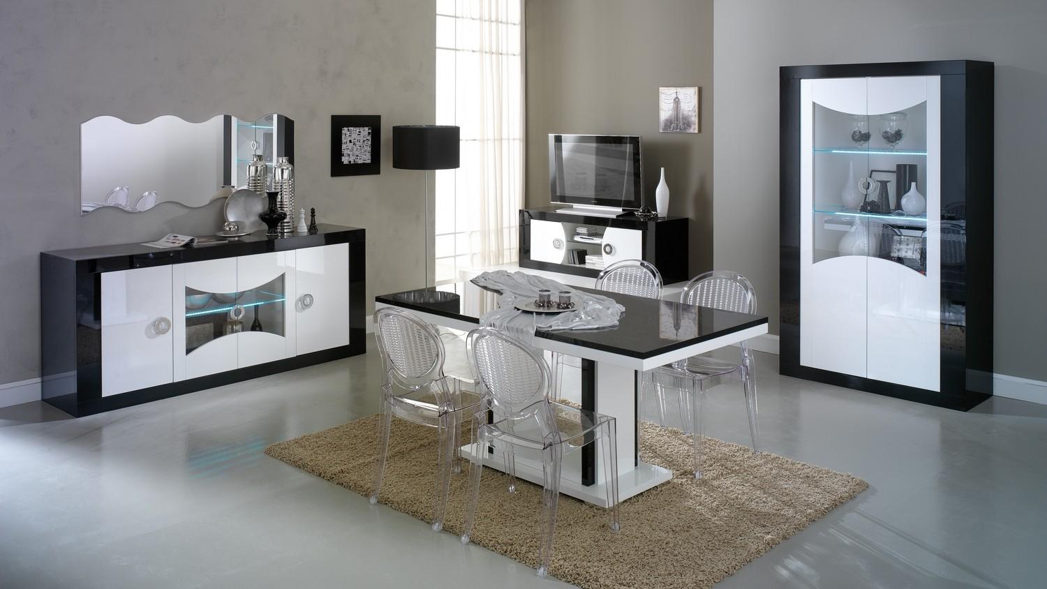 Salle A Manger Gris Blanc Noir salle à manger design lumineuse noire et blanche nevis