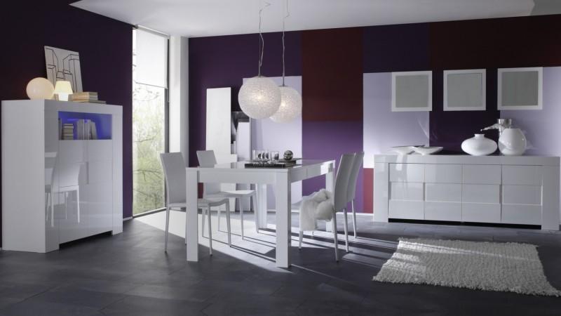 salle manger design compl te konrad laqu e blanche gdegdesign. Black Bedroom Furniture Sets. Home Design Ideas