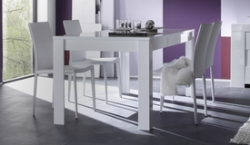 Table de salle à manger laquée blanche 180 cm - Konrad