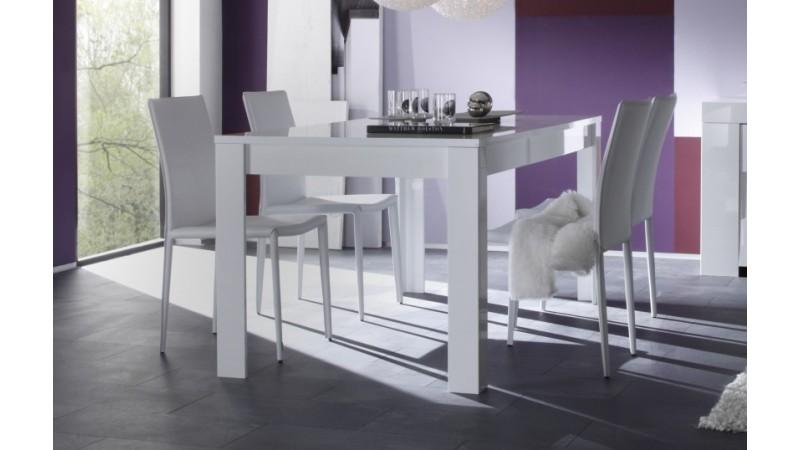 Table manger design rectangulaire laqu e blanche konrad for Table de salle a manger 180 cm