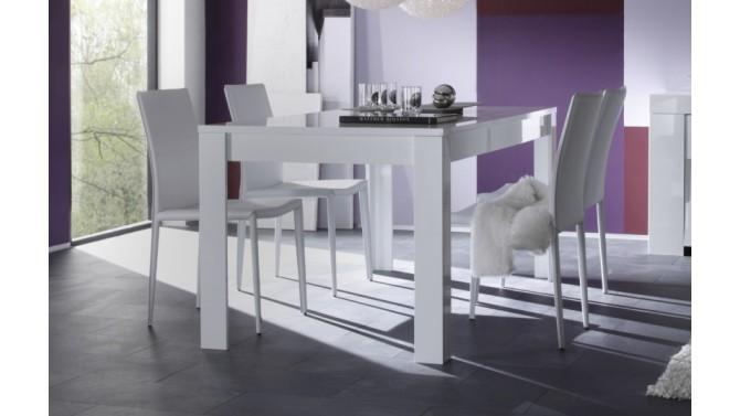 Table de salle à manger laquée blanche 160 cm - Konrad