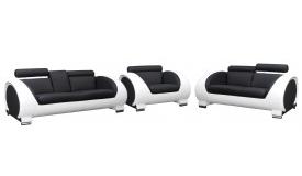 Salon complet design en simili cuir 3+2+1 - Elton