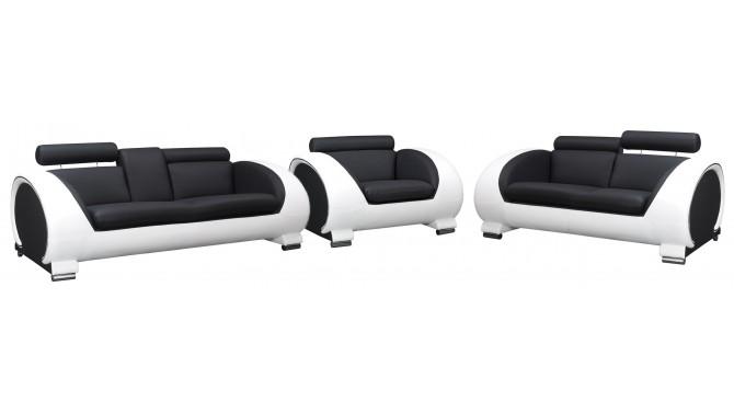 Salon complet design en cuir canap s et fauteuil elton for Entretien d un salon en cuir