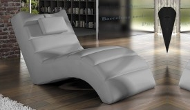 Chaise longue relax simili cuir gris - Huw