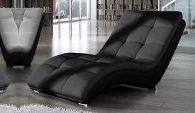 Chaise relax tissu gris foncé et simili cuir noir - Kan