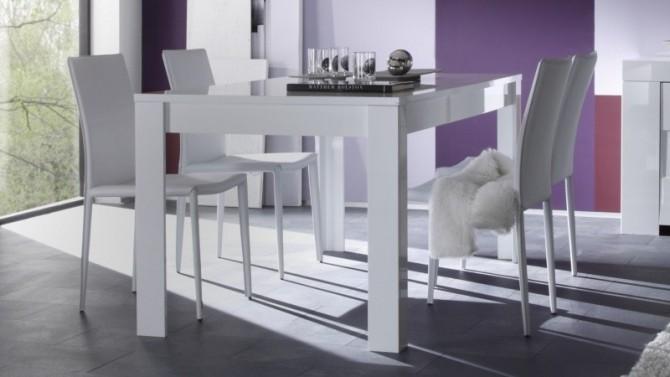 Table de salle à manger laquée blanche - Konrad