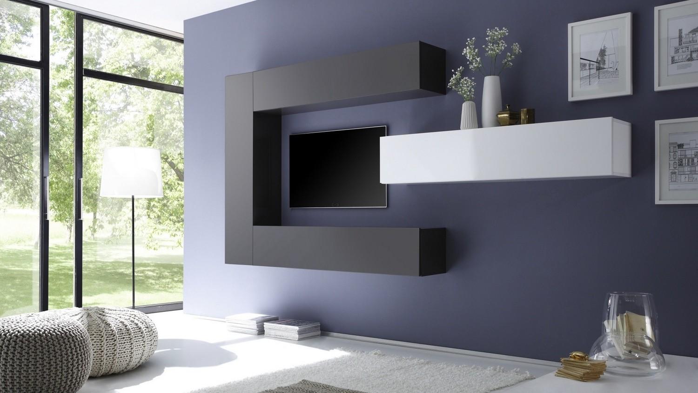 Ensemble Meuble Tv Moderne Avec Colonnes De Rangement Manoj  # Meuble Tv Avec Tv Suspendu