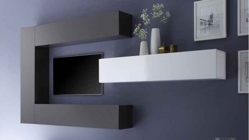 ensemble meuble tv moderne avec colonnes de rangement manoj gdegdesign. Black Bedroom Furniture Sets. Home Design Ideas