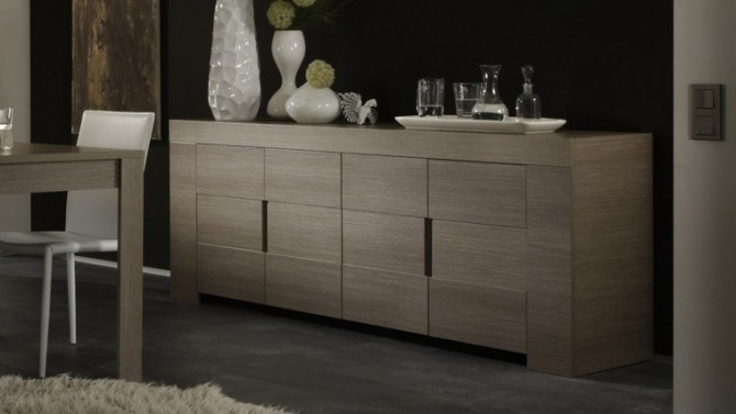 bahut moderne 4 portes en bois d cor ch ne boris gdegdesign. Black Bedroom Furniture Sets. Home Design Ideas