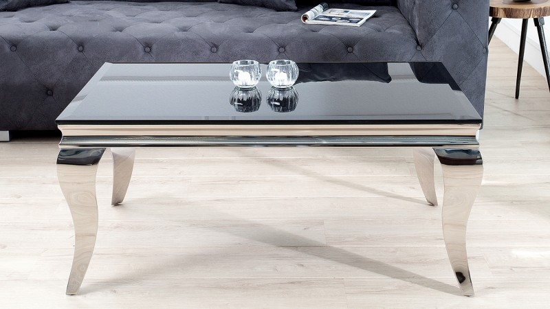 table basse de salon baroque noire en verre tremp zita. Black Bedroom Furniture Sets. Home Design Ideas
