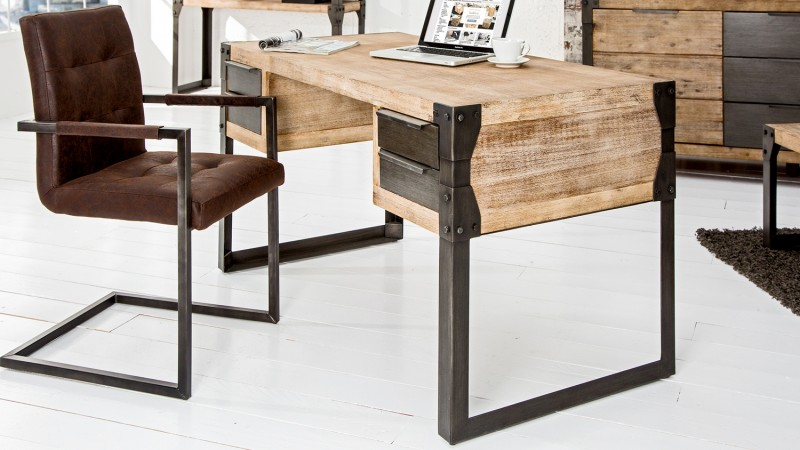 bureau droit design industriel bois massif et m tal jorg gdegdesign. Black Bedroom Furniture Sets. Home Design Ideas