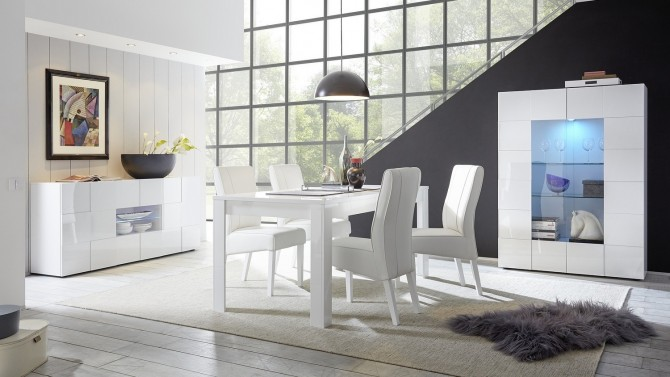 Salle A Manger Laque Blanc.Salle A Manger Complete Design Led Laquee Blanche Faust Gdegdesign
