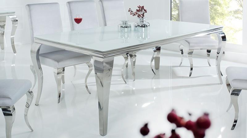 Table à dîner baroque design blanche rectangulaire Zita ...