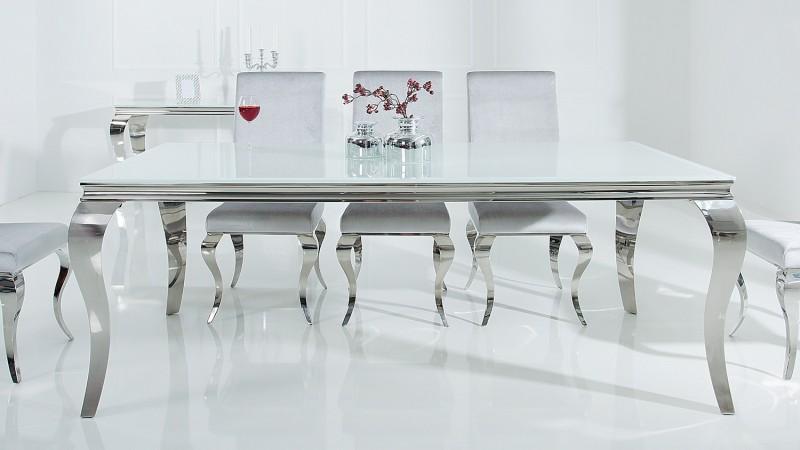 Table à dîner baroque design blanche rectangulaire Zita