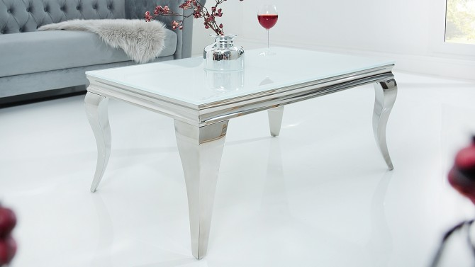 Table de salon baroque blanche design - Zita
