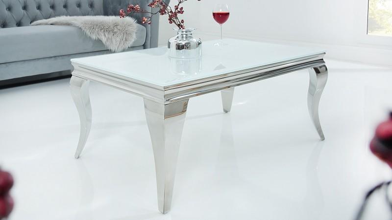 Table de salon design blanche style baroque et cosy zita gdegdesign - Table de salon design blanche ...
