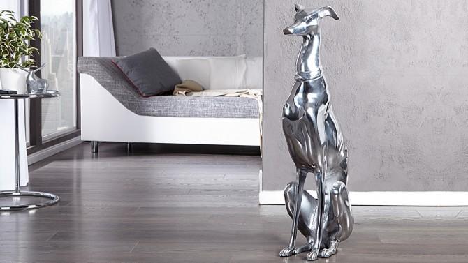 statue design chien assis bruce en aluminium poli. Black Bedroom Furniture Sets. Home Design Ideas