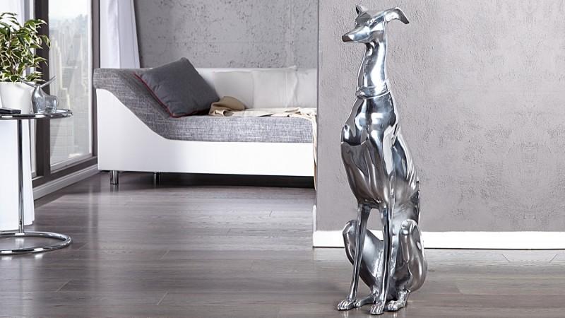 statue design chien assis bruce en aluminium poli gdegdesign. Black Bedroom Furniture Sets. Home Design Ideas