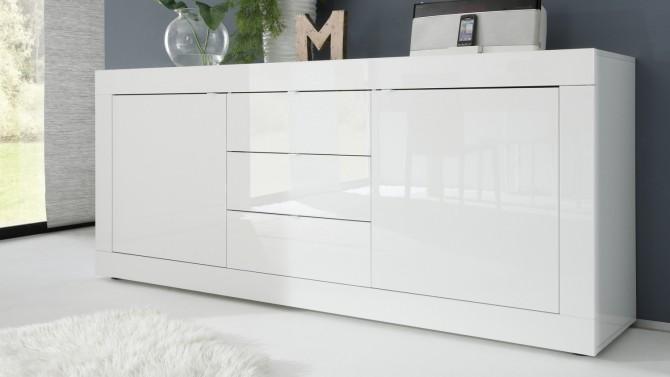 Bahut design 2 portes + 3 tiroirs laqué blanc - Lernig