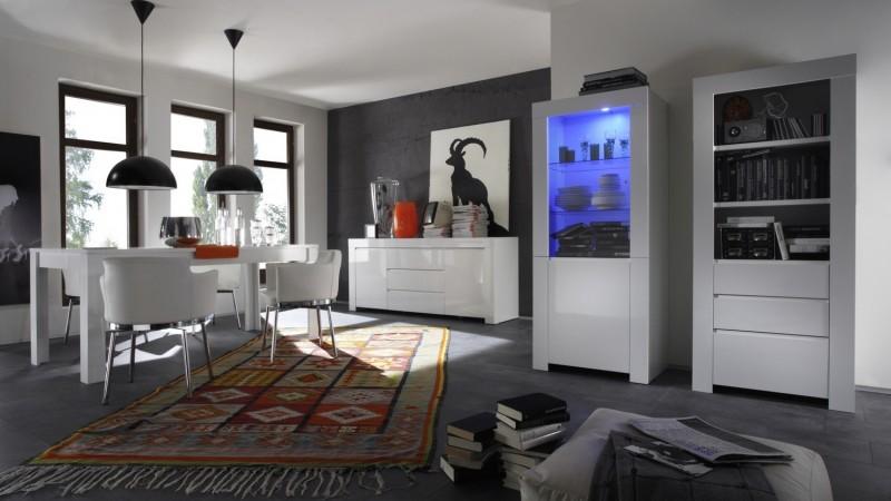 Bahut de rangement design blanc 2 portes 3 tiroirs for Meuble living sejour