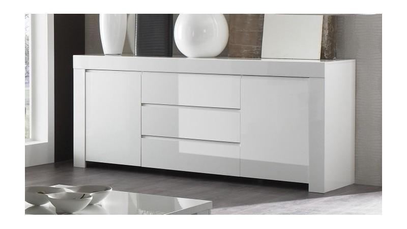 Bahut de rangement design blanc 2 portes 3 tiroirs naomi gdegdesign - Buffet 3 portes 3 tiroirs ...