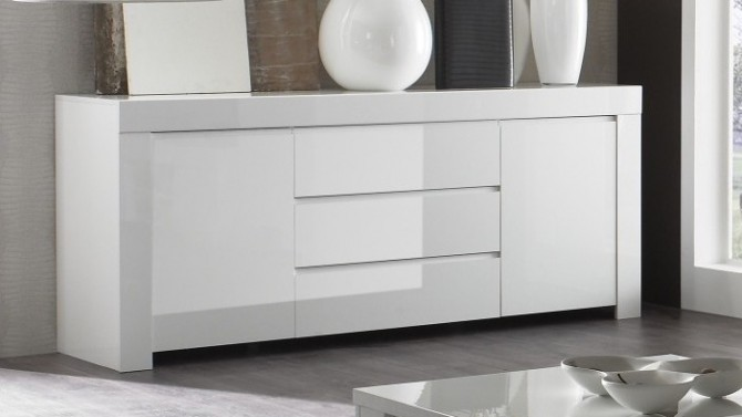 bahut de rangement design blanc 2 portes 3 tiroirs naomi gdegdesign. Black Bedroom Furniture Sets. Home Design Ideas