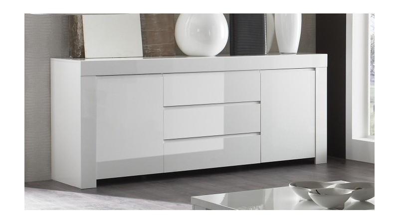bahut de rangement design blanc 2 portes 3 tiroirs naomi gdegdesign. Black Bedroom Furniture Sets. Home Design Ideas