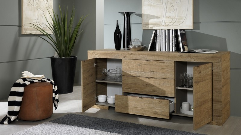 buffet moderne en bois 2 portes et 3 tiroirs karel gdegdesign. Black Bedroom Furniture Sets. Home Design Ideas