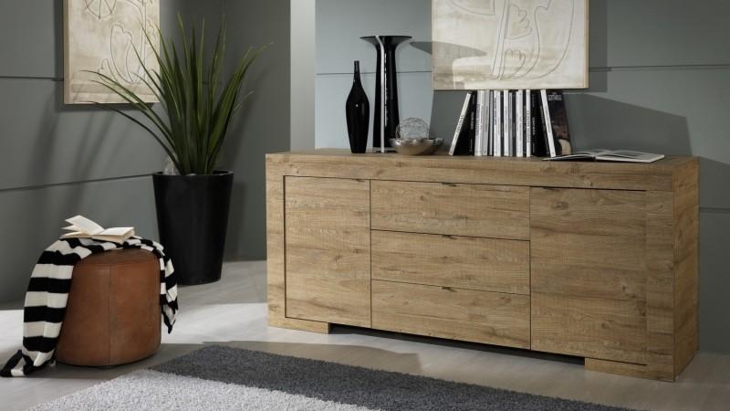 buffet moderne en bois 2 portes et 3 tiroirs karel gdegdesign. Black Bedroom Furniture Sets. Home Design Ideas