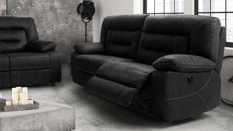 72b1af9e0d Canapé relax électrique tissu nubuck gris 3 places Adana - GdeGdesign