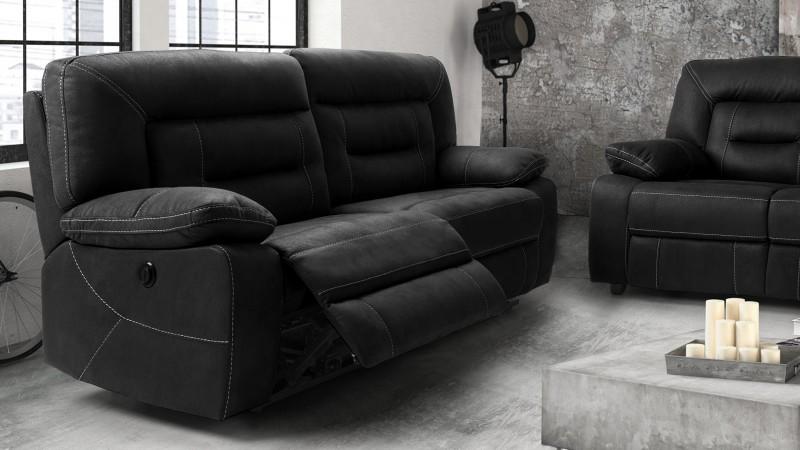 Canapé relax électrique tissu nubuck gris 3 places Adana