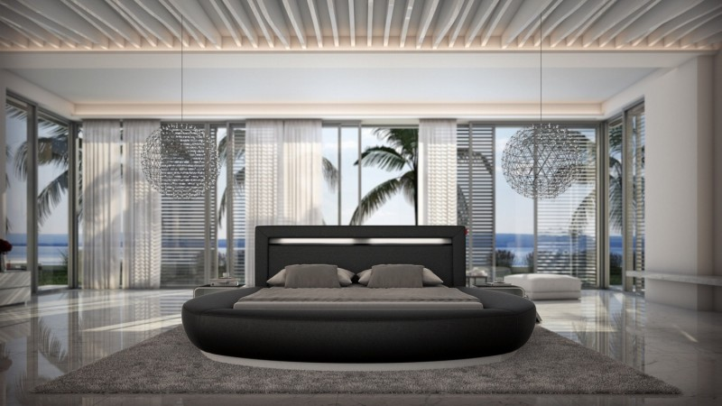 lit led simili cuir noir 200x200 cm forme arrondie kovel gdegdesign. Black Bedroom Furniture Sets. Home Design Ideas
